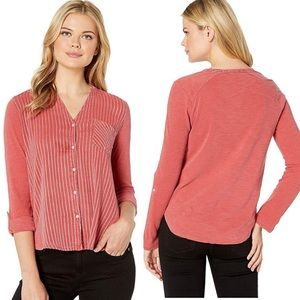 NWT Lucky Brand Gauze Mix Henley Top Large